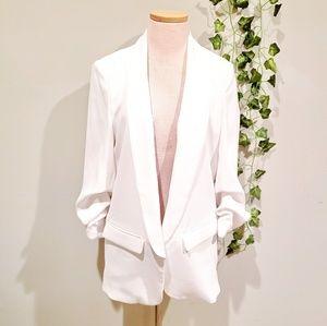 Zara White Tunic Blazer Jacket with Ruched sleeves